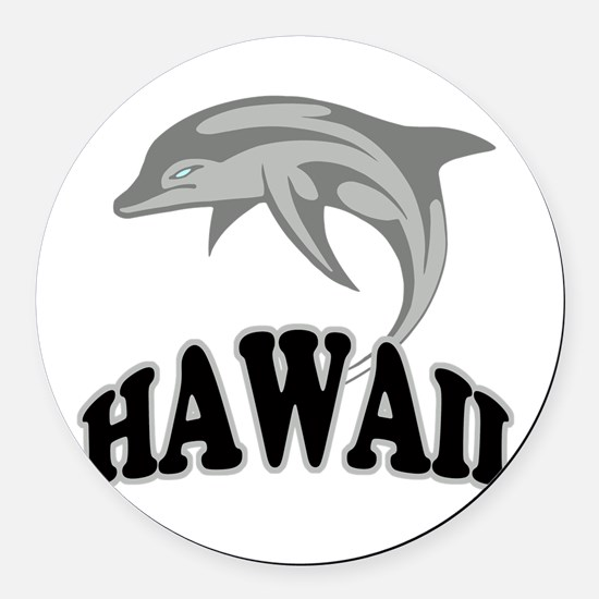 Hawaii Dolphin.png Round Car Magnet