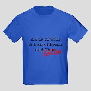 Bacon A Jug of Wine Kids Dark T-Shirt