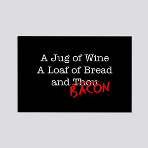 Bacon A Jug of Wine Rectangle Magnet