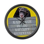 Marriage Monkey Business II Large Wall Clock