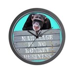 Marriage Monkey Business (Turquoise) Wall Clock