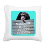 Marriage Monkey Business (Turquoise) Square Canvas