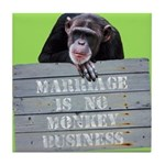 Marriage Monkey Business (Green) Tile Coaster