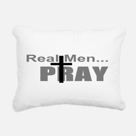 Real Men Pray Rectangular Canvas Pillow