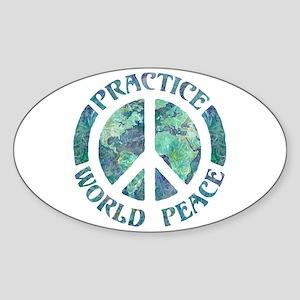 Practice World Peace Sticker (Oval)