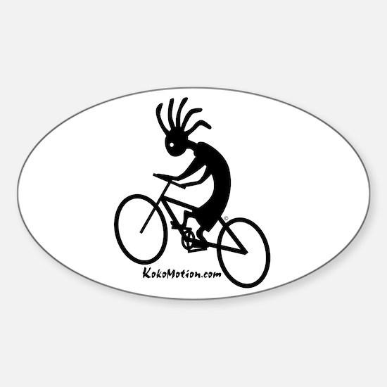 Kokopelli Mountain Biker Oval Decal