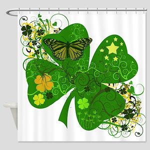Irish Clover Art Abstract Shower Curtain
