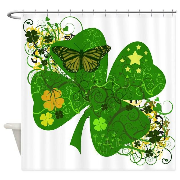 Irish Clover Art Abstract Shower Curtain by AtomicCotton