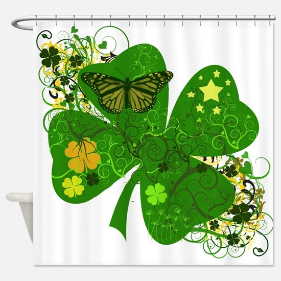 Irish Clover Art Abstract Shower Curtain