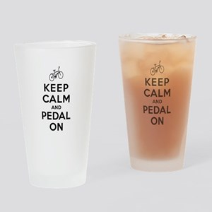 Keep Calm and Pedal On Drinking Glass