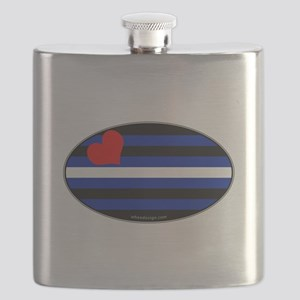 Oval Leather Pride Flag Flask