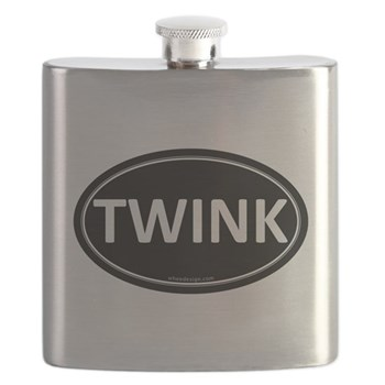 TWINK Black Euro Oval Flask