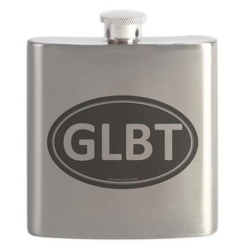 GLBT Black Euro Oval Flask