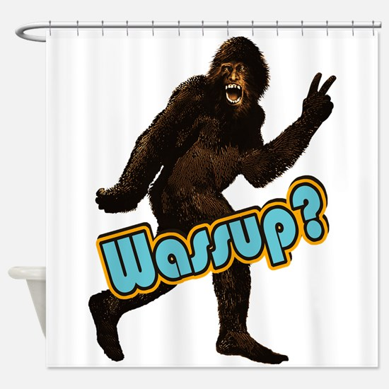 Bigfoot Sasquatch Yetti Peace Wassup Shower Curtai