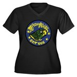 USS HAWKBILL Women's Plus Size V-Neck Dark T-Shirt