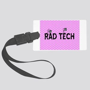 Rad tech necklace pink Large Luggage Tag