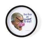 Bush Speaks Pig Latin Wall Clock
