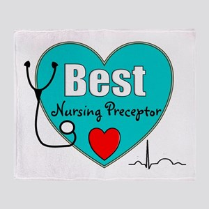 Best Nursing Preceptor blue Throw Blanket
