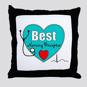 Best Nursing Preceptor blue Throw Pillow