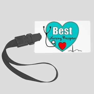 Best Nursing Preceptor blue Large Luggage Tag