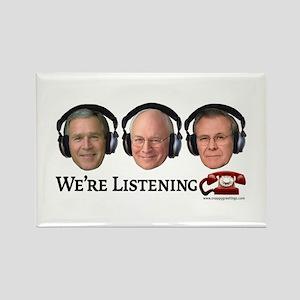 We're Listening Rectangle Magnet