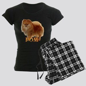 Pomeranian head dog art Women's Dark Pajamas