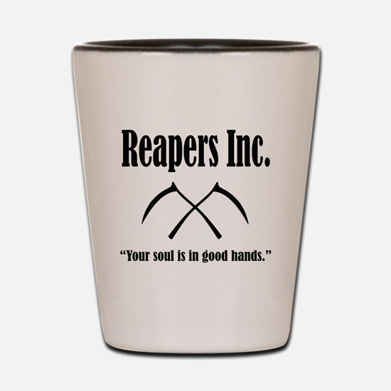 Reapers Inc. Logo and Slogan Shot Glass