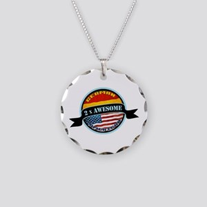 German American 2x Awesome Necklace Circle Charm