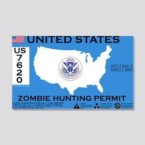 Zombie Hunting Permit 20x12 Wall Decal