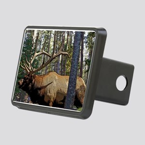 Bull elk in pines Rectangular Hitch Cover