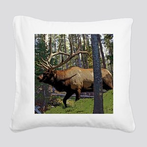 Bull elk in pines Square Canvas Pillow
