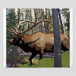 Bull elk in pines King Duvet