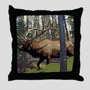 Bull elk in pines Throw Pillow