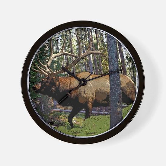 Bull elk in pines Wall Clock