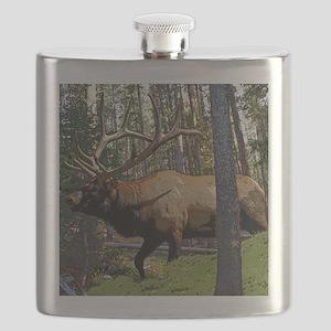 Bull elk in pines Flask