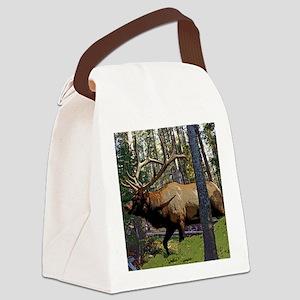 Bull elk in pines Canvas Lunch Bag