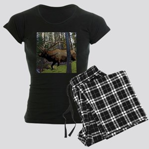 Bull elk in pines Women's Dark Pajamas