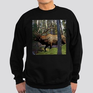 Bull elk in pines Sweatshirt (dark)