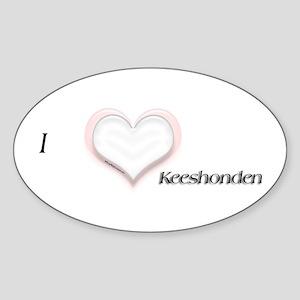 I heart Keeshonden Oval Sticker