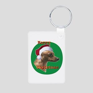Christmas Min Pin head dog art Aluminum Photo Keyc