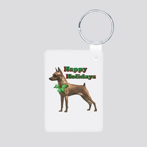 Holiday Min Pin Aluminum Photo Keychain