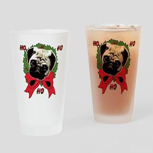 Christmas pug holiday Drinking Glass