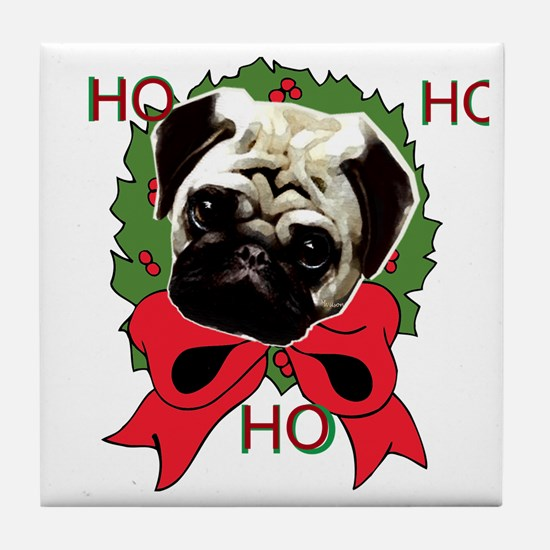 Christmas pug holiday Tile Coaster