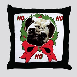 Christmas pug holiday Throw Pillow