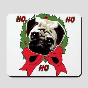 Christmas pug holiday Mousepad