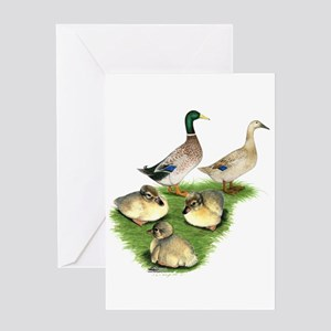 Welsh Harlequin Duck Family Greeting Card