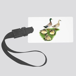 Welsh Harlequin Duck Family Large Luggage Tag