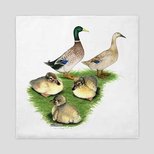 Welsh Harlequin Duck Family Queen Duvet