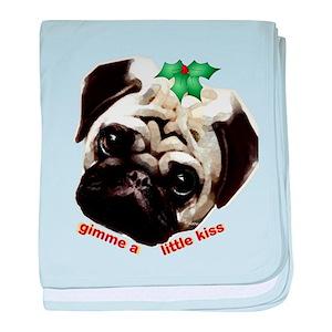 8d50599eed2 Christmas Pug Baby Blankets - CafePress