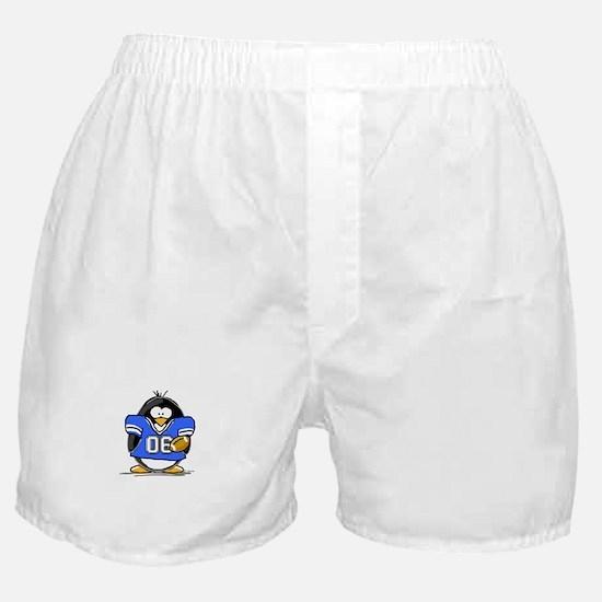 Blue Football Penguin Boxer Shorts